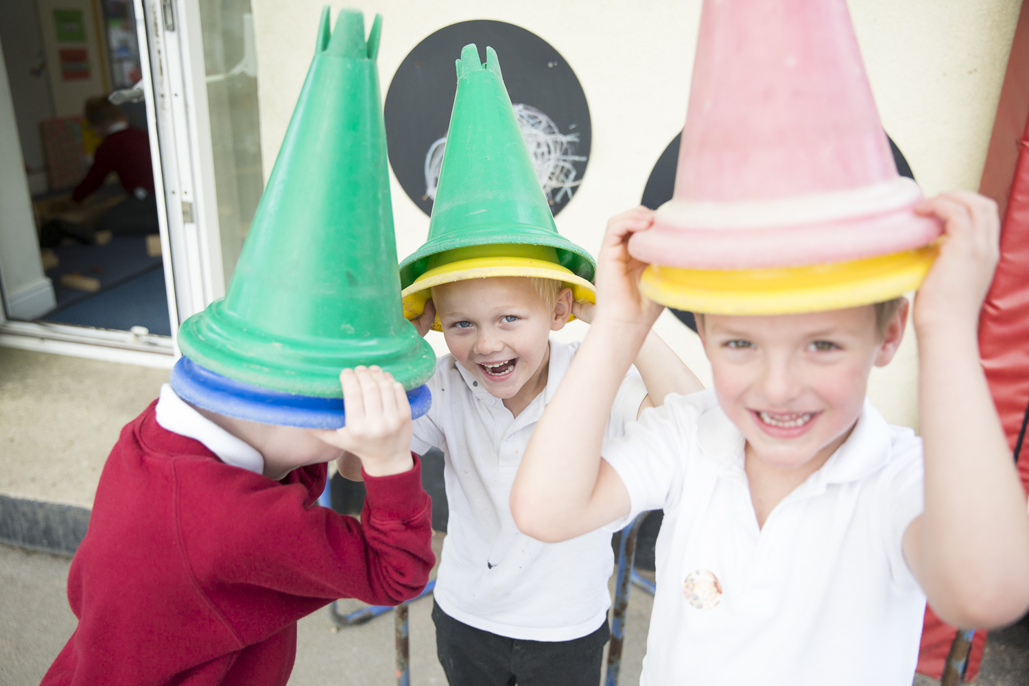 Children wearing Cones as Hats